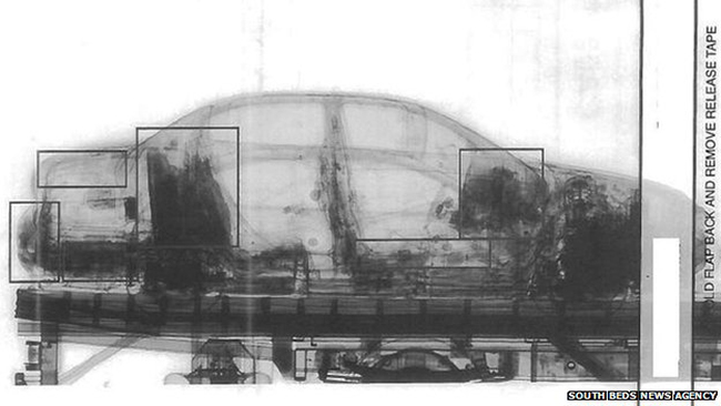 Xray of the car showing all the heroin