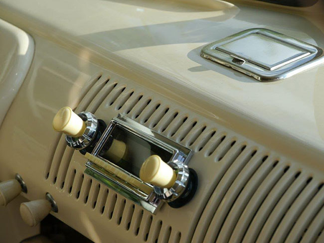 Close up of the dashboard radio