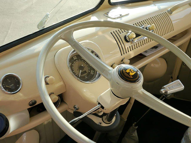 Close up of the steering wheel and dials