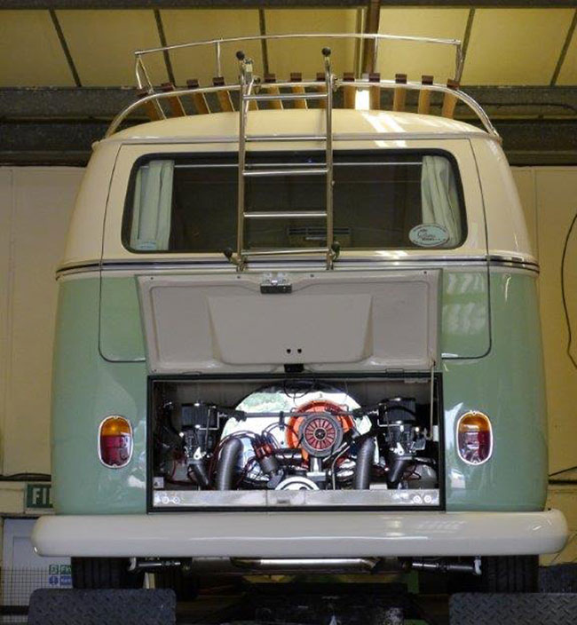 The finished camper rear shot engine